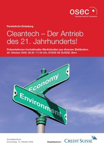 Einladung Cleantech-Event am 20. Oktober 2009 in