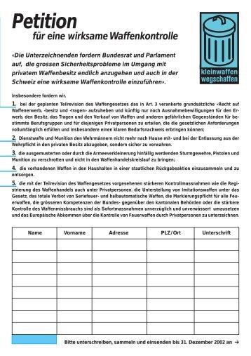 Petition - Schweizerischer Friedensrat