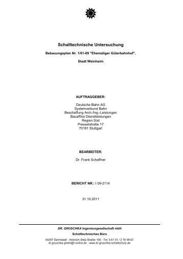 Schalltechnische Untersuchung - Stadt Weinheim