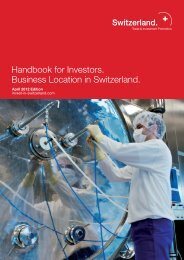 Handbook for Investors. Business Location in Switzerland.