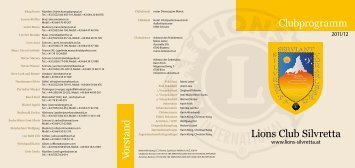 Lions Club Silvretta Clubprogramm Vorstand