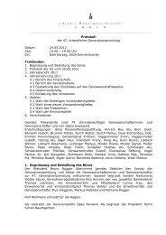 Protokoll zur Generalversammlung 2012 - bei der LBE Emmen