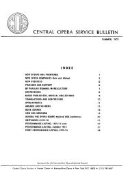 Central Opera Service Bulletin - Summer, 1973 - CPANDA