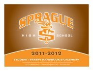 student / parent handbook & calendar - Sprague High School