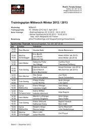 Trainingsplan Mittwoch Winter 2012 / 2013 - Roni's Tennis School