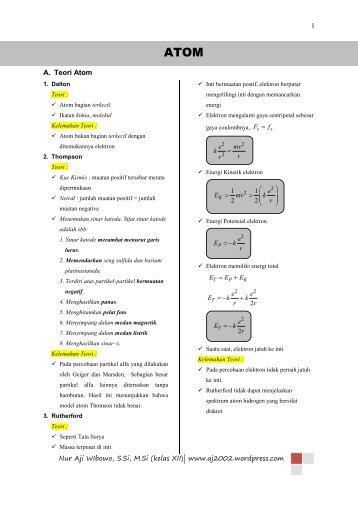Kumpulan Rumus Kelas XII (Teori Atom dan Atom