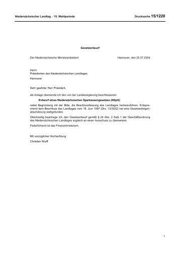 Niedersächsischer Landtag − 15. Wahlperiode Drucksache 15/1220 ...