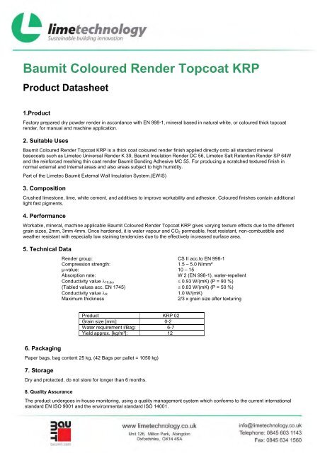 Baumit Coloured Render Topcoat KRP Product - Lime Technology