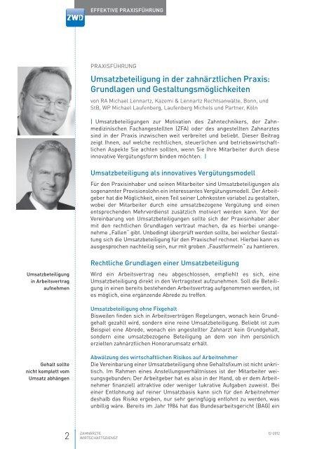 Umsatzbeteiligung In Der Zahnärztlichen Praxis Laufenberg