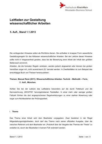 Leitfaden zur Gestaltung wissenschaftlicher Arbeiten - Hochschule ...