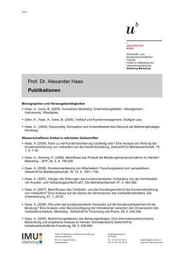 Prof. Dr. Haas - Publikationen (pdf, 59KB) - IMU - Marketing