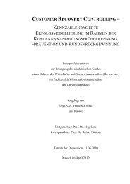 customer recovery controlling - KOBRA - Universität Kassel