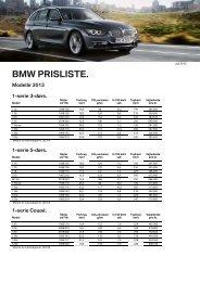Prisliste BMW modelprogram 2013 manuelt gear (pdf)