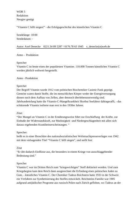 WDR 5 Redaktion Neugier gen gt Vitamin C hilft siegen! die ...