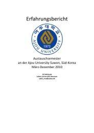 Erfahrungsbericht an der Ajou University 2 - Hochschulbüro für ...