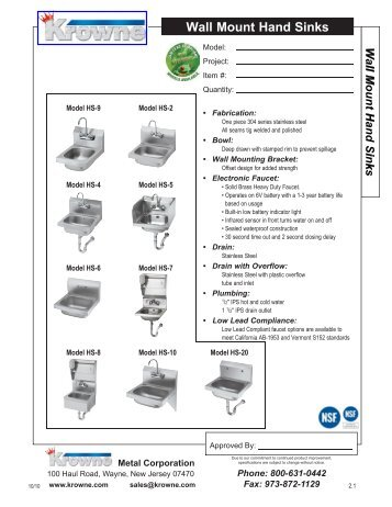 Krowne Wall Mount Hand Sink HS-Series Spec Sheet - Central ...
