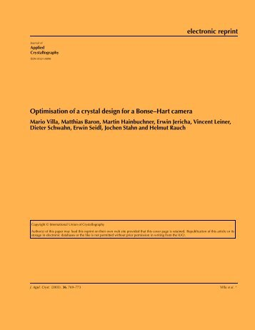 electronic reprint Optimisation of a crystal design for a Bonse–Hart ...