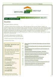 Sentinel-Haus® Institut - newsletter