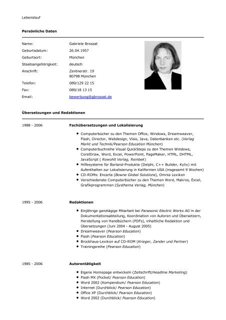 Lebenslauf Persönliche Daten Name Gabriele Broszat Geburtsdatum