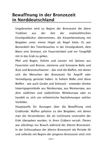 Bewaffnung in der Bronzezeit in Norddeutschland