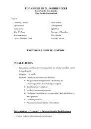 FOP KRIEGE IM 21. JAHRHUNDERT PROTOKOLL ... - Kreisky, Eva