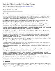 Calendar of Events from the University of Kansas - KU ScholarWorks ...