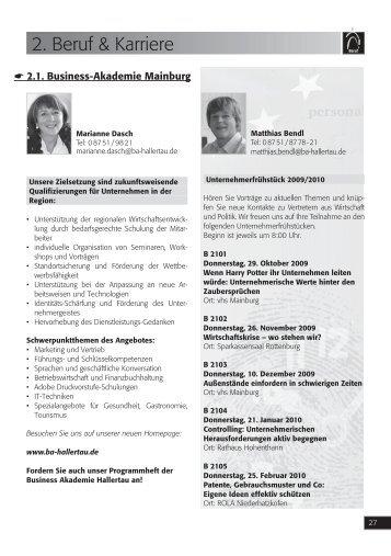 2. Beruf & Karriere - Volkshochschule Mainburg und Umgebung e.V.