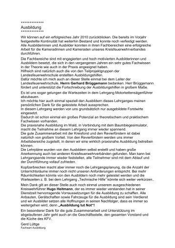 Ausbildung - KFV Herzogtum Lauenburg