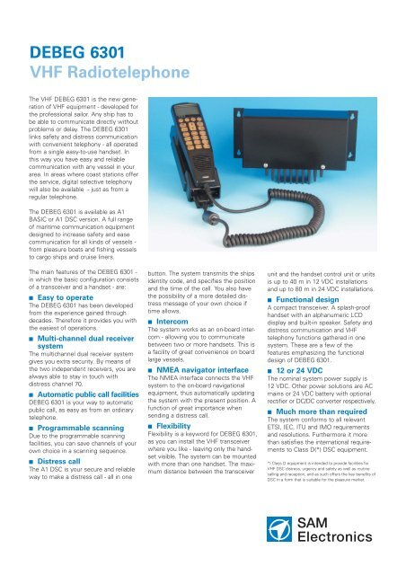 DEBEG 6301 VHF Radiotelephone