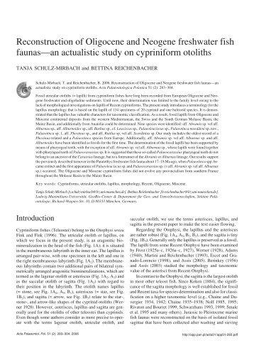 Reconstruction of Oligocene and Neogene freshwater fish faunas ...