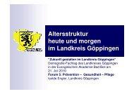 """Altersstruktur heute und morgen im Landkreis Göppingen """"Zukunft ..."""