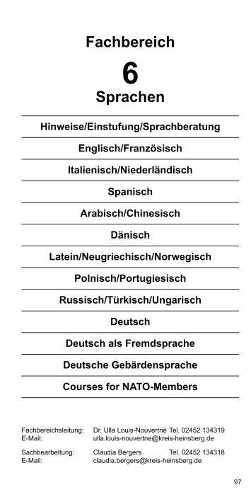 Fachbereich Sprachen - VHS Kreis Heinsberg