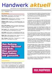 Handwerk aktuell - Kreishandwerkerschaft Güstrow