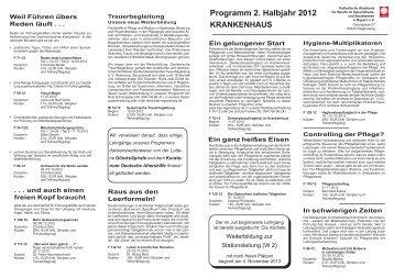 Programm 2. Halbjahr 2012 - Katholischen Akademie für Berufe im ...