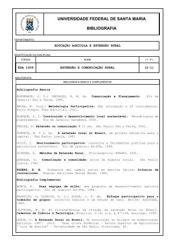 EDA 1009 BIB Extensão e Comunicação Rural - UFSM