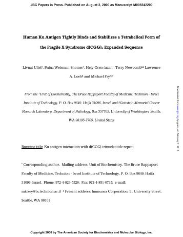 Human Ku Antigen Tightly Binds and Stabilizes a Tetrahelical Form ...