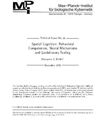 Spatial Cognition: Behavioral Competences, Neural Mechanisms and