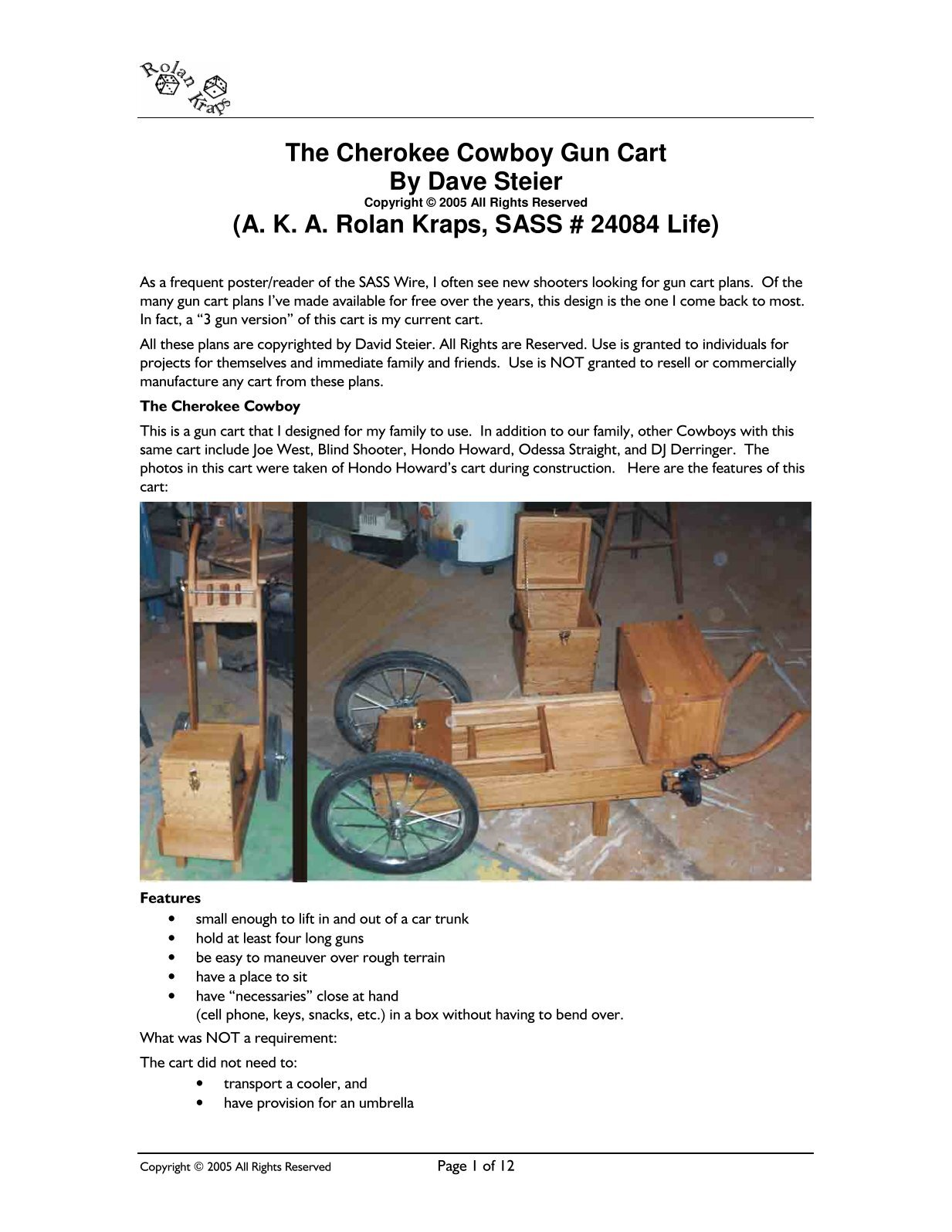 Cherokee Cowboy Gun Cart - Trestle Valley Rangers