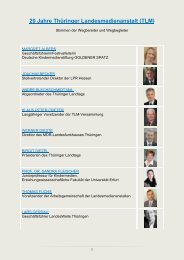 20 Jahre Thüringer Landesmedienanstalt (TLM)