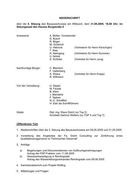 Niederschrift der 4. Sitzung 31.08.2005 - Stadt Radevormwald