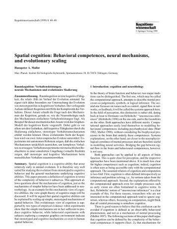 Spatial cognition: Behavioral competences, neural mechanisms ...