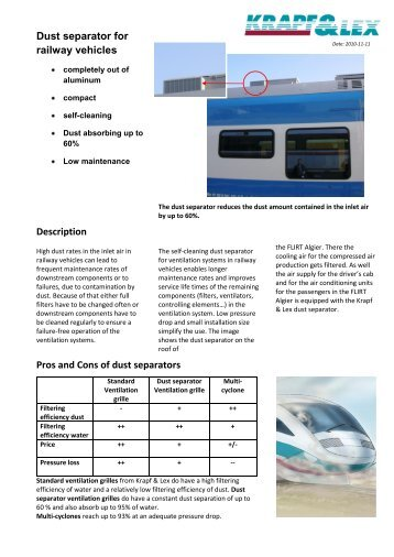 Dust separator for railway vehicles - Krapf & Lex: Home