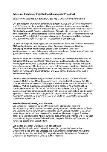 Schweizer Outsourcer trotz Marktwachstum unter ... - consources.ch