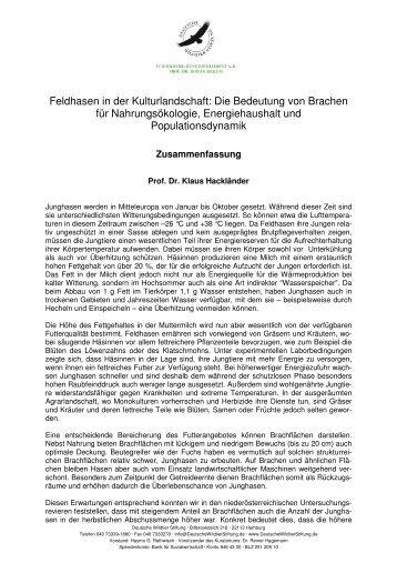 Informationen zum Projekt von Dr. Hackländer als pdf - Deutsche ...