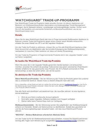 WATCHGUARD® TRADE-UP-PROGRAMM - Computer Trade ...