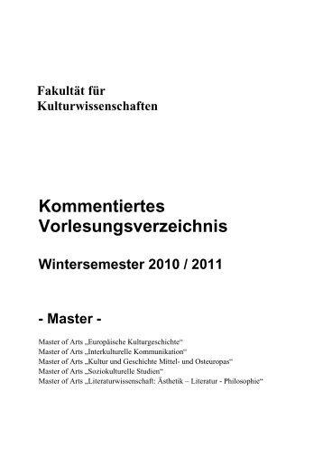 Master KVV Wintersemester 2010/11 - Kulturwissenschaftliche ...