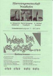 Kirchenanzeiger: 07. Februar 2010