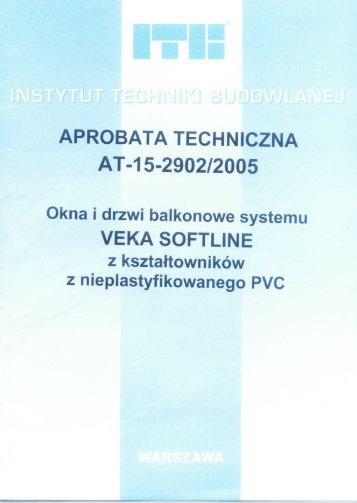 Aprobata techniczna systemu Veka SOFTLINE - Okna PCV