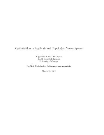 Optimization in Algebraic and Topological Vector Spaces - Faculty