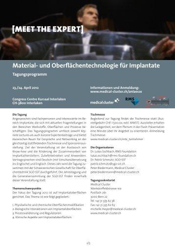 Material- und Oberflächentechnologie für Implantate - Medical Cluster
